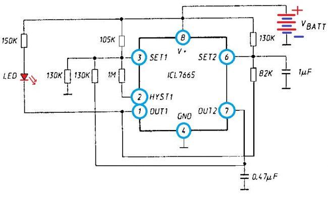 Индикатор трёх состояний 3-х вольтовой батареи
