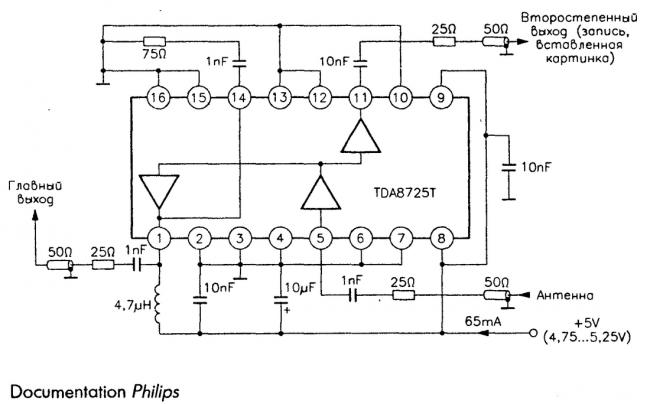 Распределитель сигнала с антенны на TDA8725T