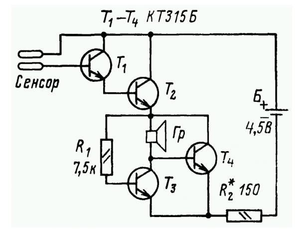 Простая схема электронного звонка