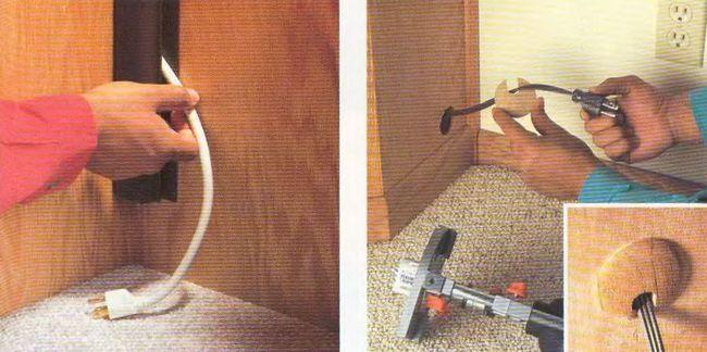 Электрическая и осветительная арматура в полках и шкафах.