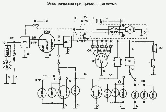 Схема электрооборудования мопеда.