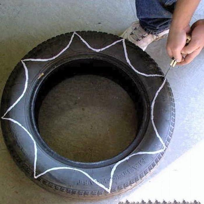 Вазоны из шины своими руками