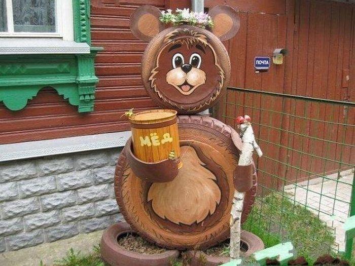 Медведь из шины своими руками фото