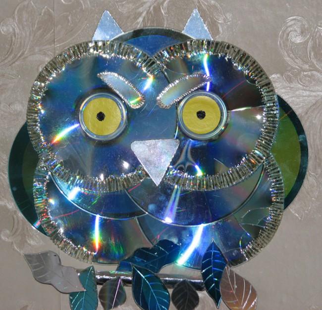Поделки из CD-дисков - сова