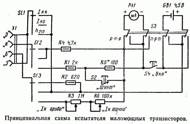 Простой испытатель для маломощных транзисторов