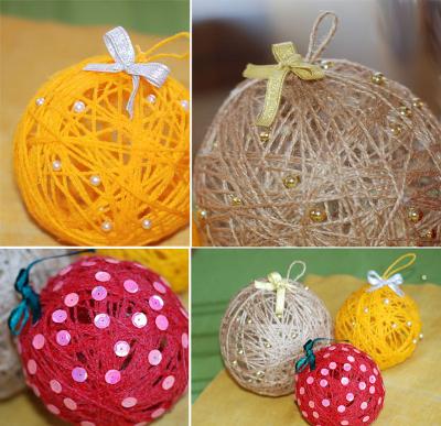 Елочные игрушки шарики из ниток своими руками