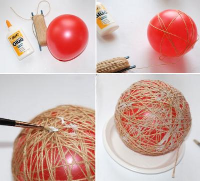 Новогодние игрушки своими руками - ёлочный шар-паутинка