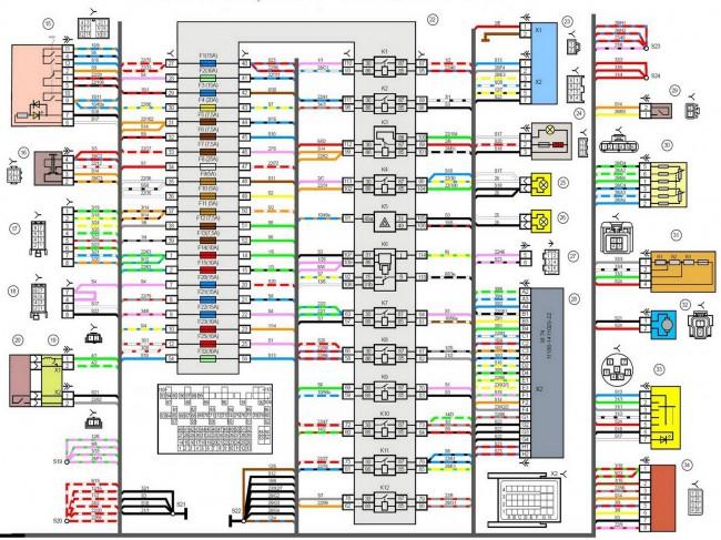 Принципиальная электрическая схема автомобиля ВАЗ- 2190 (ГРАНТА)