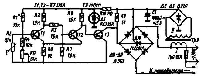 Схема терморегулятора на пяти