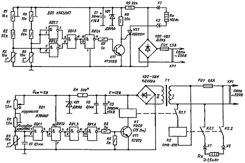 Две схемы терморегулятора на