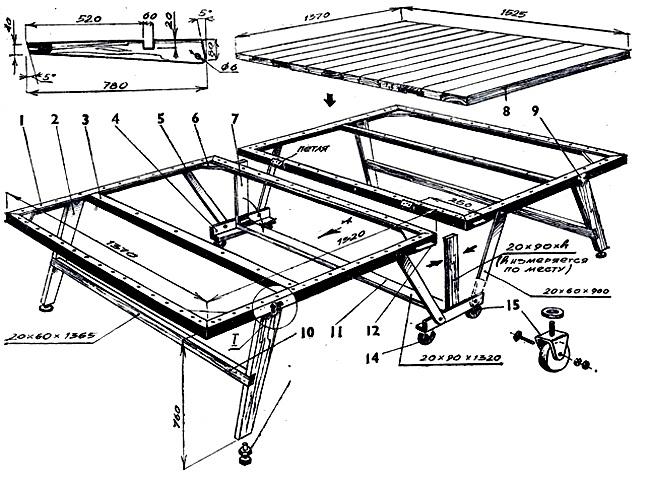 Теннисный стол своими руками схема раскладной