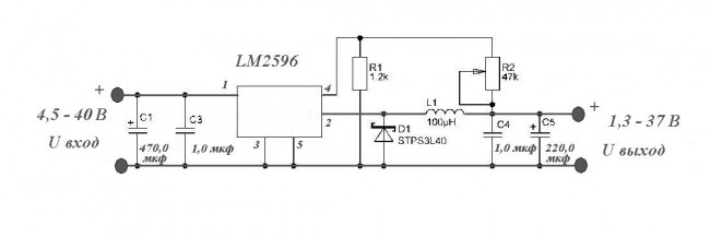 Стабилизатор напряжения на LM2596