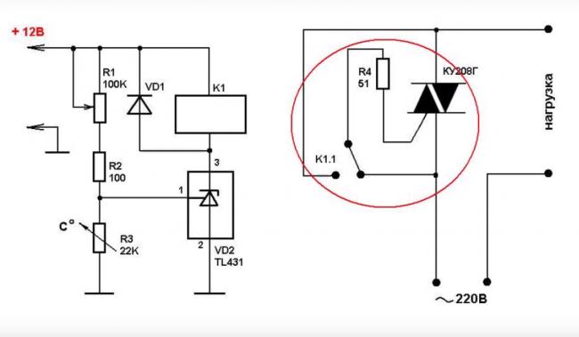 Простейшая схема терморегулятора.