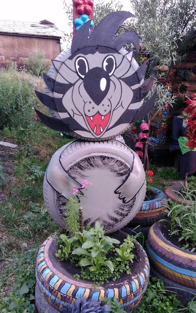 Фото поделки для сада из покрышек