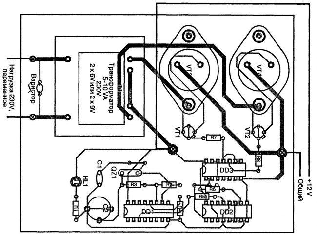 Простой преобразователь напряжения -12В на ~230В