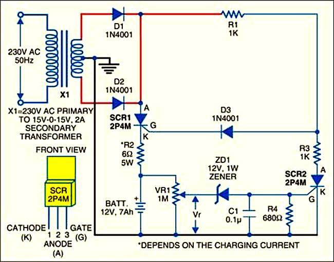 Зарядное устройство для АКБ 12В, 7а-ч