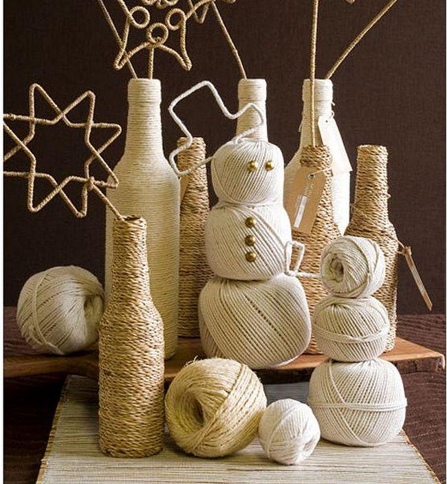 Интересные варианты изготовления снеговика из ниток
