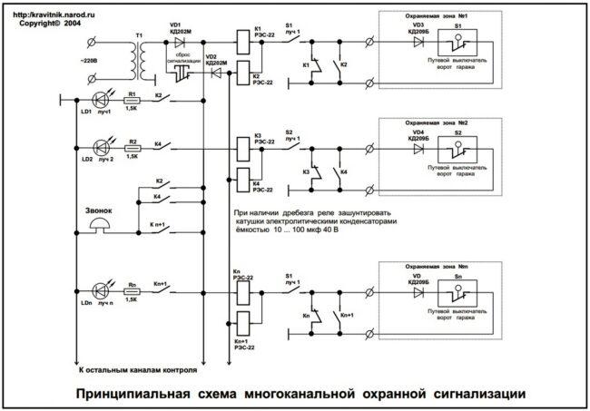 Схемы самодельных охранных сигнализаций